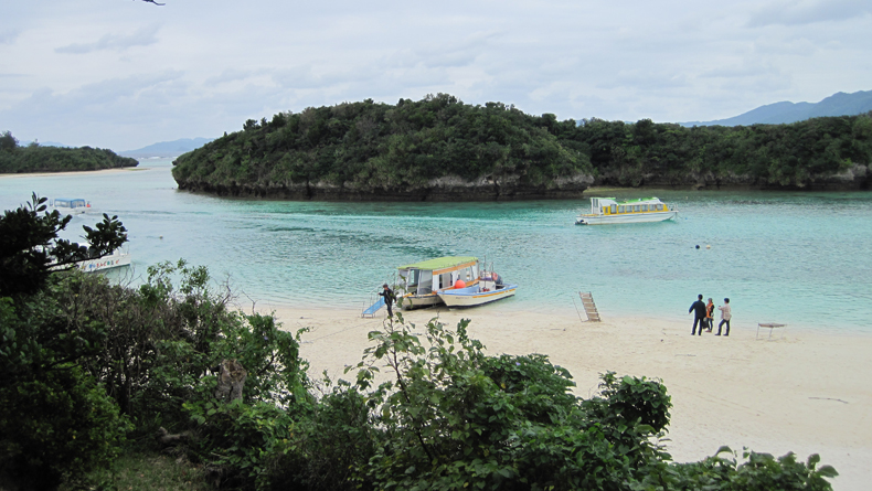 Kabira Bay and some glass-bottomed boats cropped
