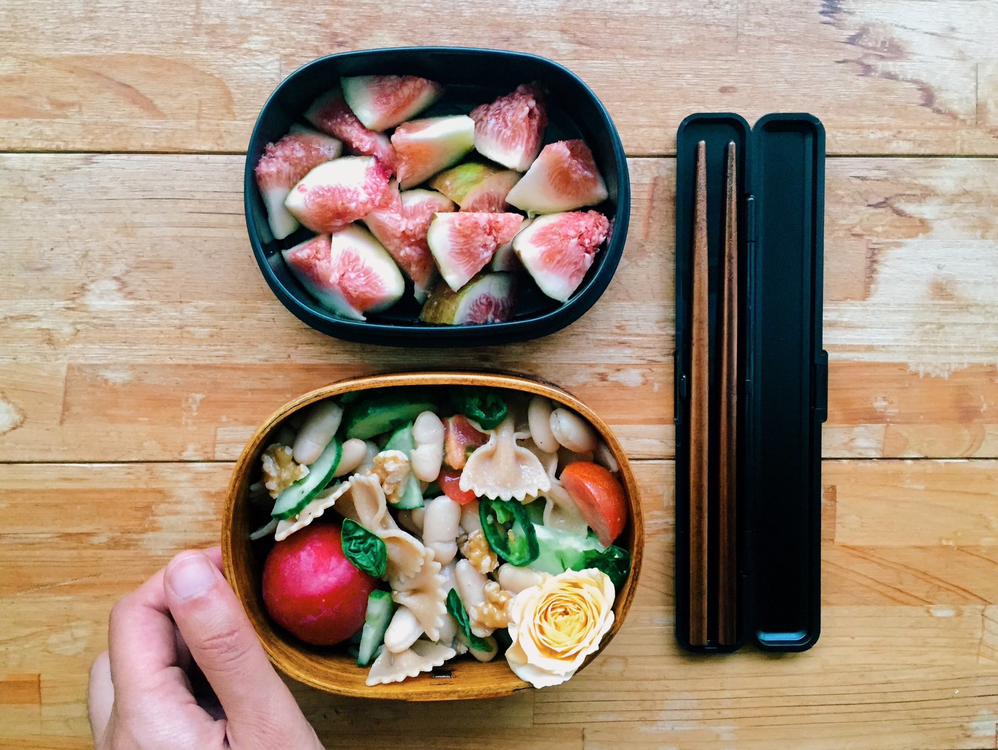 Use a variety of colors and textures to make your bento pop