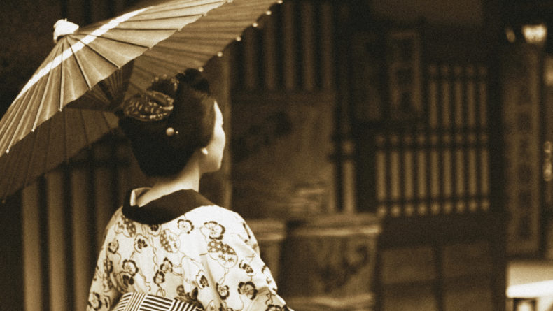 Traditional Japanese Woman with umbrella in Edo Period