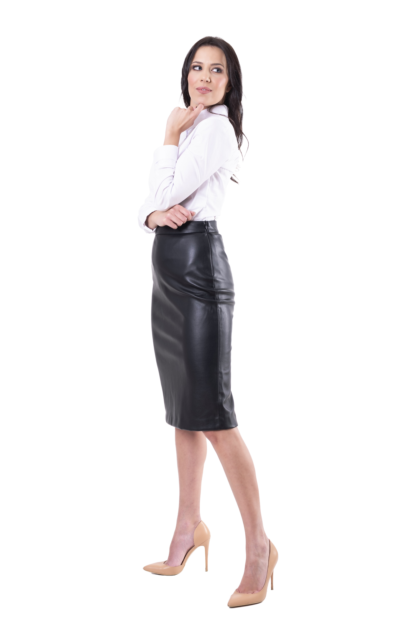Uniqlo White Shirt and Faux Leather Skirt