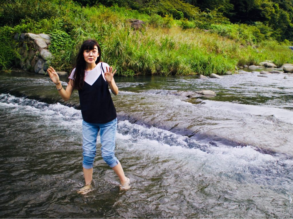 Playing in the river in Hakone
