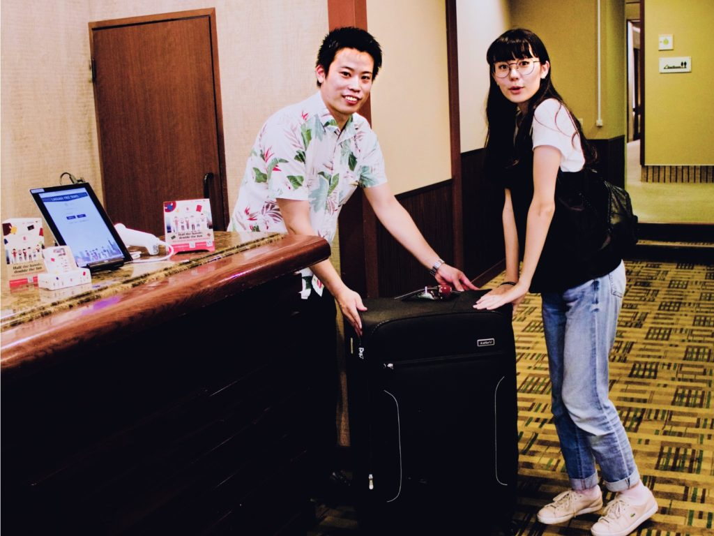 Receiving luggage at the hotel
