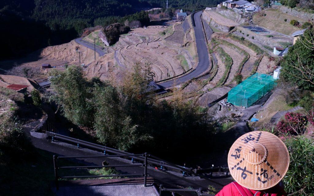 Female solo hiking Kumano Kodo Iseji Route View of Maruyama Senmaida