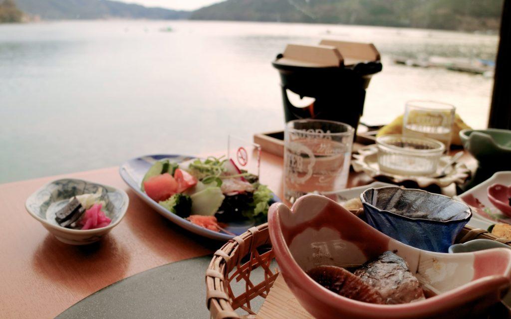 Female solo hiking along the Kumano Kodo Iseji Route breakfast at Owase Seaside View