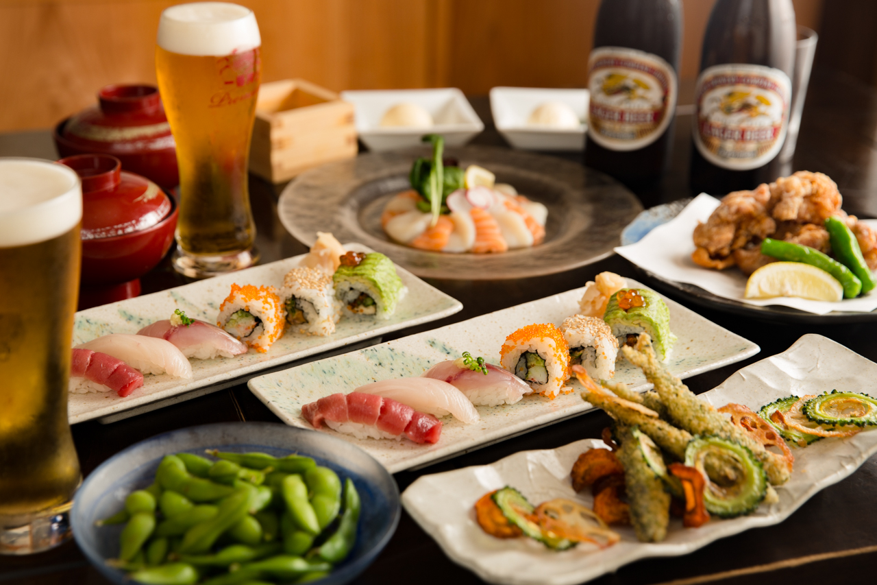 Delicious sushi and beer (or cocktails if you prefer) are on offer at Gonpachi Sushi in Nishiazabu, Tokyo.