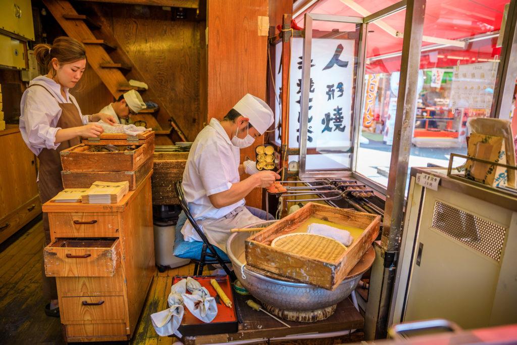 Making taiyaki along Nakamise street.