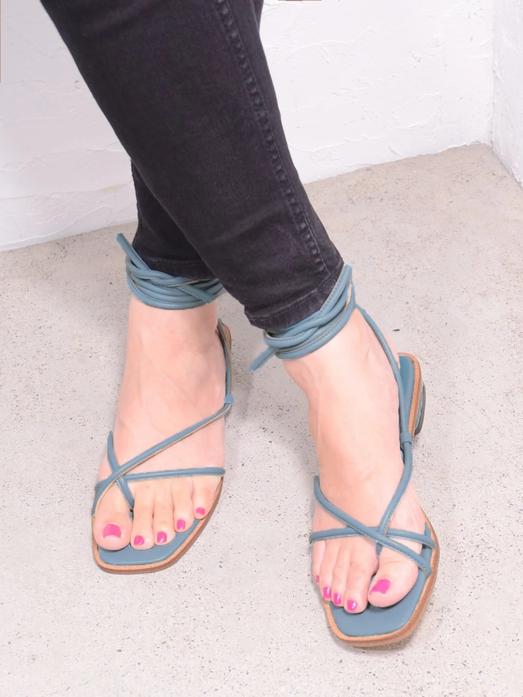 top-5-tokyo-summer-fashion-trends-2020 Blue Lace-up Sandals