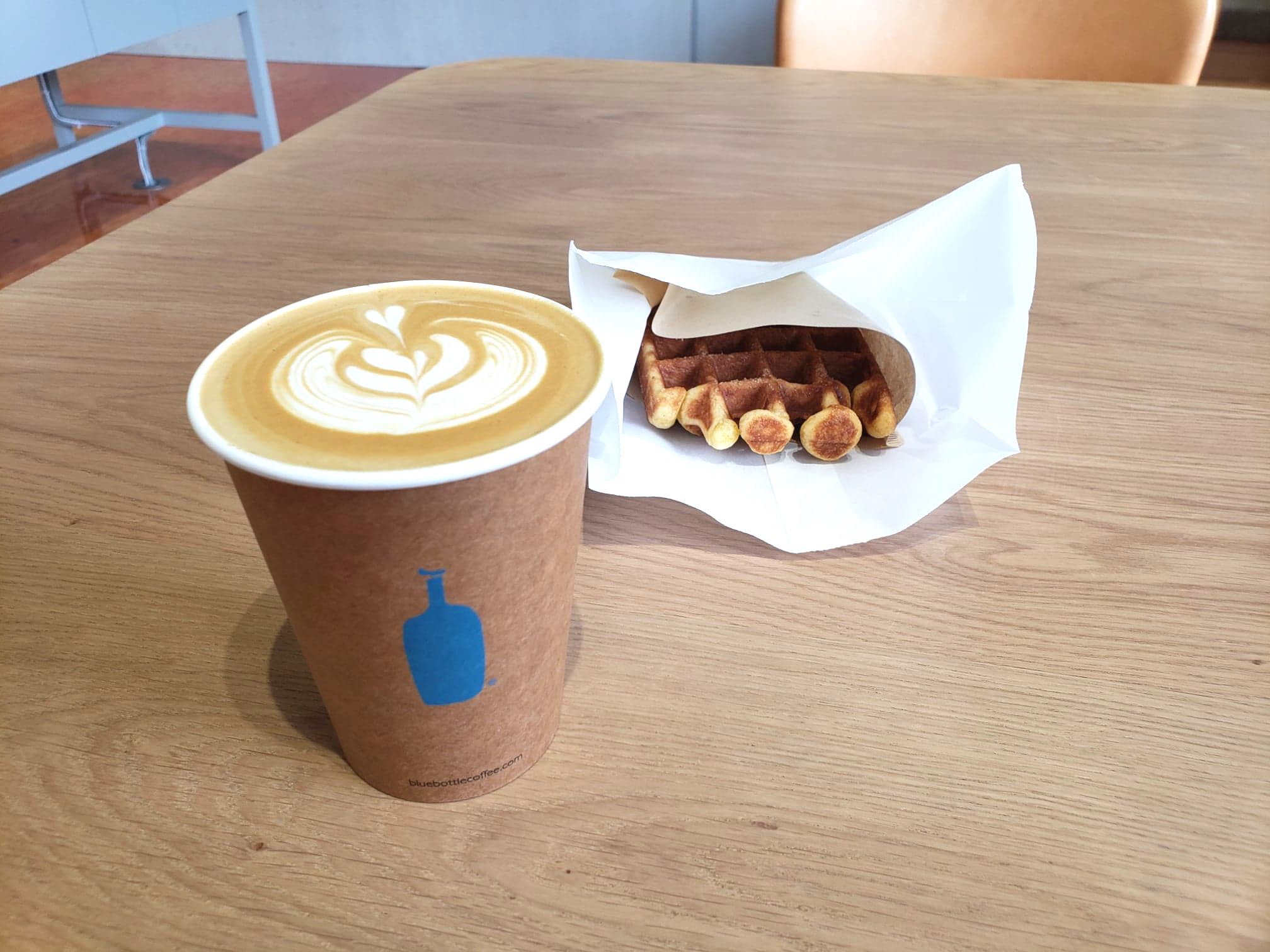 Blue bottle coffee and waffle