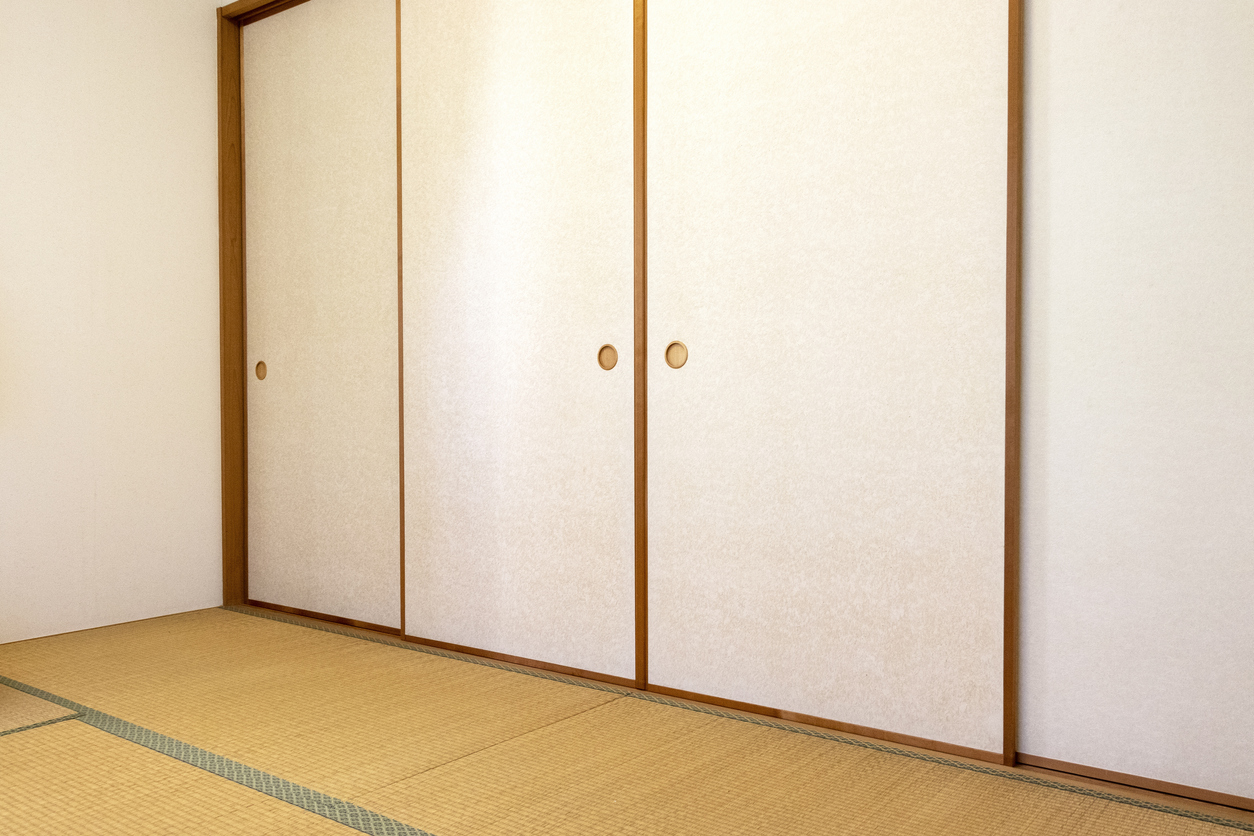 Traditional Japanese room with fusuma and tatami mat