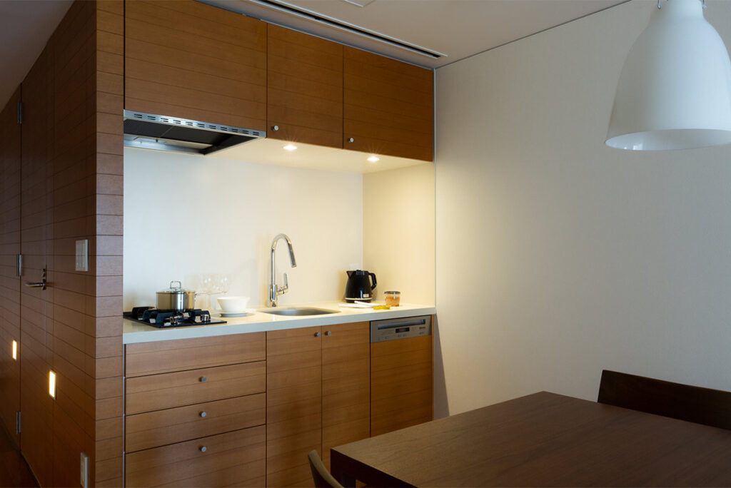 The kitchen is equipped with all the necessary utensils and dishes for your stay.