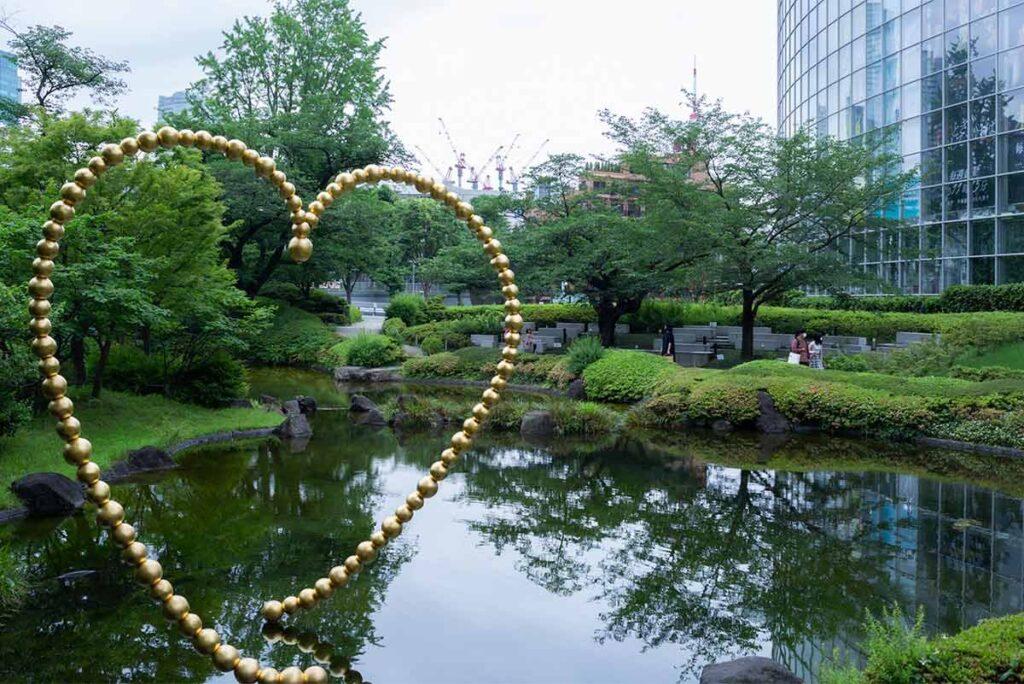 Artwork by Jean-Michel Othoniel in the Mohri Garden. It is Shimizu's favorite walking spot.